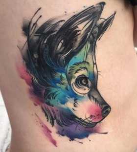 gorgeous-watercolor-wolf-tattoo