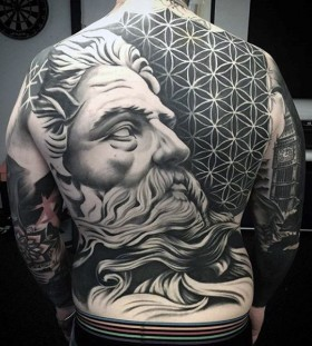 greek god full back tattoos for men