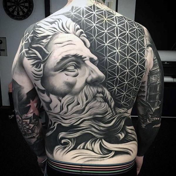 greek god full back tattoos for men
