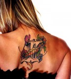 Wonderful Gemini Mythology Tattoo On The Back Upper