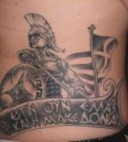 Elegant Greek Mythology Tattoo Design On The Stomach