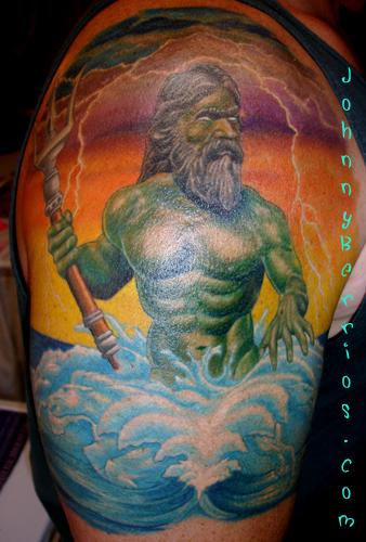 Stylish Greek Mythology Shoulder Tattoo Design For Men