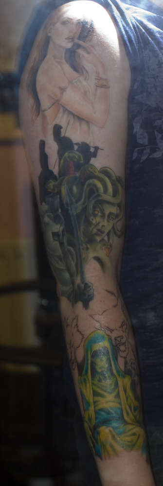 Nice Greek Mythology Sleeve Tattoo Design Image