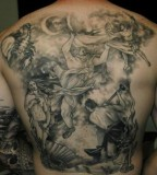 Spectacular Greek God Mythology Tattoo On The Back