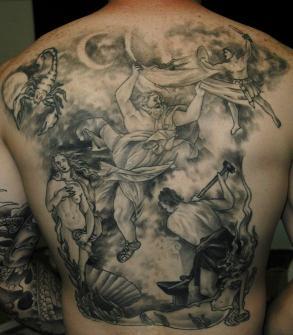 Spectacular Greek God Mythology Tattoo On The Back