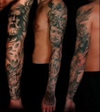 Black And Grey Stylish Greek Mythology Sleeve Tattoo
