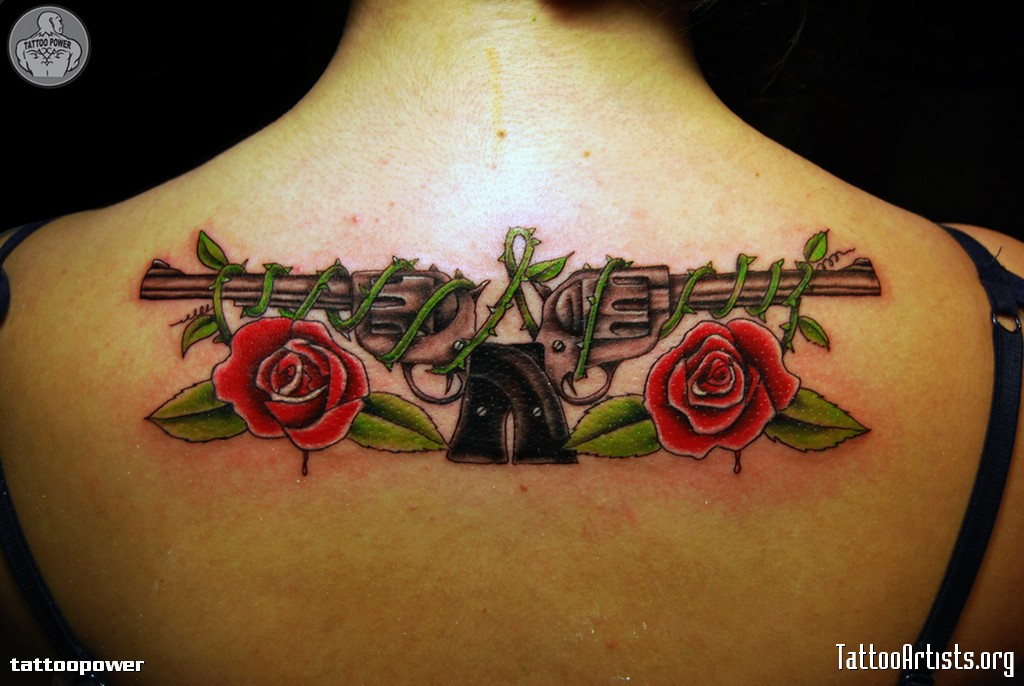 83805b218c450 Guns N Roses Tattoo - Upper Back Body Art Tattoo Design ...