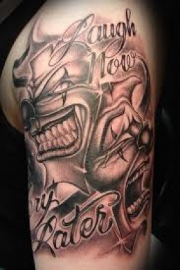 Smiling and Scary Clowns Black White Arm Tattoo