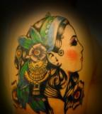 Cool Secret Gypsy Lady with Blue Bandana Tattoos