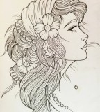 Black White Beautiful Gypsy Head Tattoo Layout