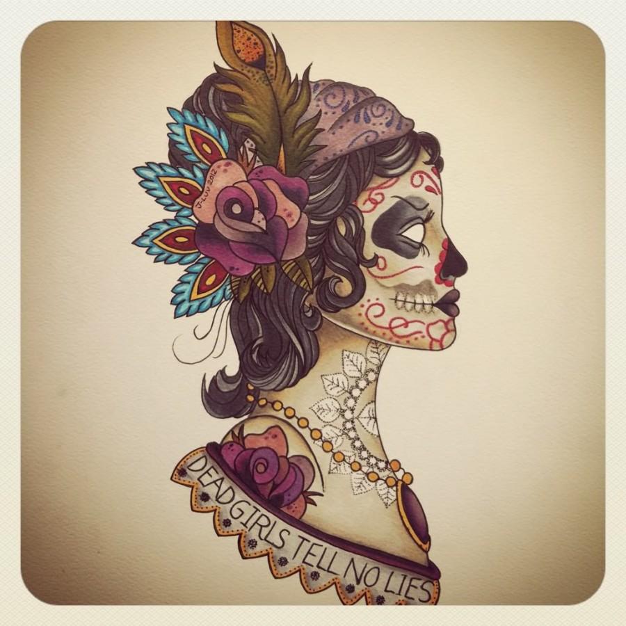 Gypsy Head Sugar Skull Soft Color Tattoo