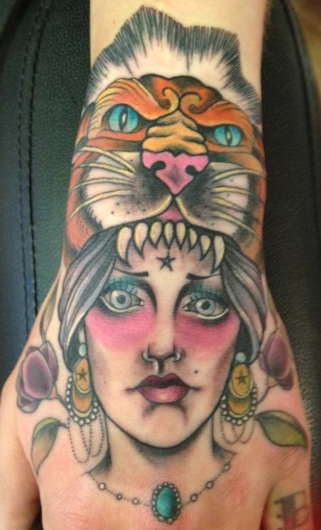Gypsy Women with Tiger Cat Head Ornament