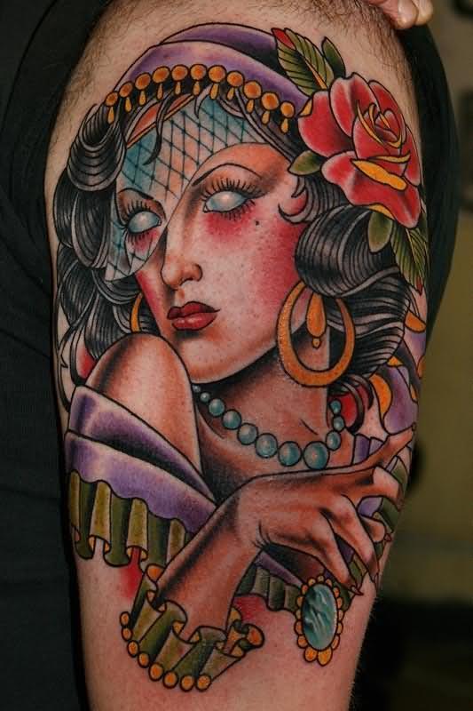 Sexy Gypsy Head Tatto with Gothic Eyes