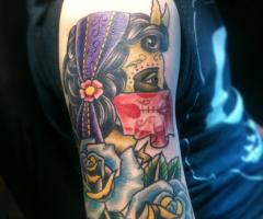 Gypsy Head Lady with Sull Mask and Red Scarf Tattoo