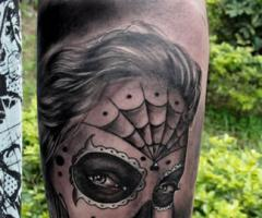 Gypsy Lady with Parade Mask Black White Tattoo
