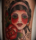 Kylle Tattoo Gipsy Women with Bloody Red Cheek Tattoo