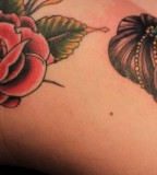 Louis Goodwin Gypsy Head and Red Rose Flower Tattoo