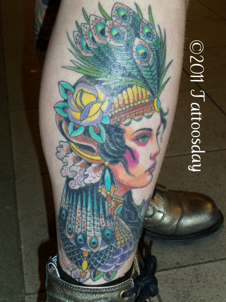 Gipsy Ladies wearing Peacock Feather Crown Tattoo