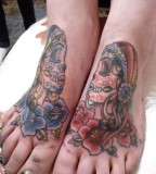 Couple Skull Gipsy Woman Colorfull Tattoo Foot Palm