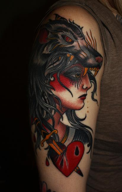 Gipsy Lady with Wolve Head Ornament Arm Tattoo
