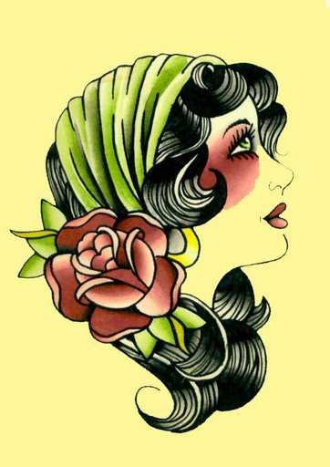 Gypsy Lady with Green Head Band and Flower Ornament Head Tattoo Challenge Winner