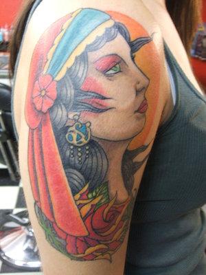 Gypsy Head Tattoo For Girls Wearing Green Bandana
