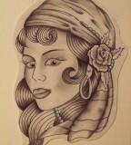 Tattoos Gypsy Head Tattoo Layout on Paper