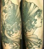 Twin Flesh and Skull Gypsy Women Dollar Greenish Tattoo