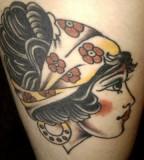 Sean's Gypsy Head Tattoo Design on Left Thigh