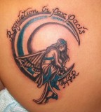 Imaginative Angel on Moon Memorial Tattoo Inspiration Pictures