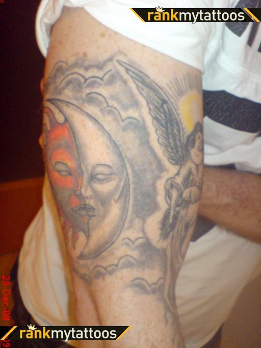 Half Sun and Half Moon Arm Tattoo Design Ideas