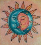 Charming Lovely Crescent Moon & Sun Tattoo Style