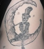 Fabulous Skeleton And Half Moon Old Tattoo Photos By Chad Williams
