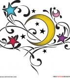 Colored Stars with Half Moon Tattoos By Smarelda Villalobos