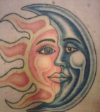 Classy Photo Of Sun And Crescent Moon Tattoo Art