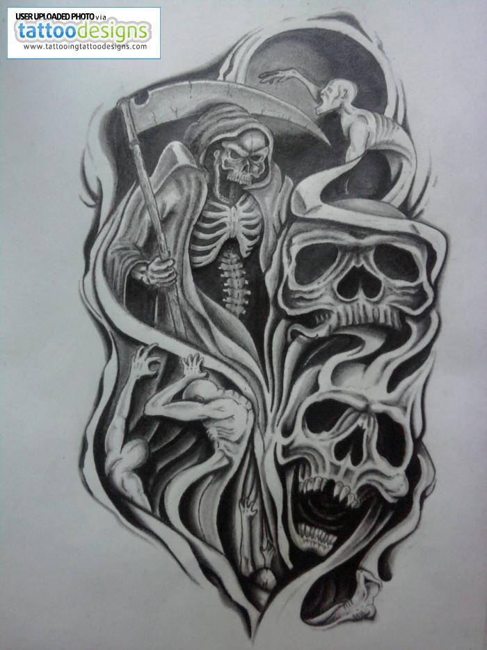 Skulls Half Sleeve Tattoo Design