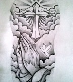 Jesus Cross Half Sleeve Tattoo Designfor Men and Women