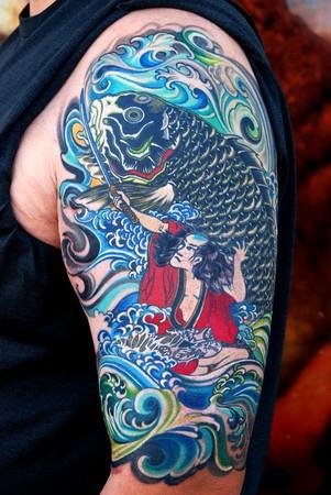1fcb7b0d3e7d6 Japanese Half Sleeve Tattoo Design Ideas for Men - | TattooMagz ...