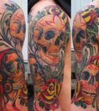 Exotic Half Sleeve Skul Tattoo For Men