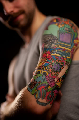 Colorful Half Tattoo Design for Men