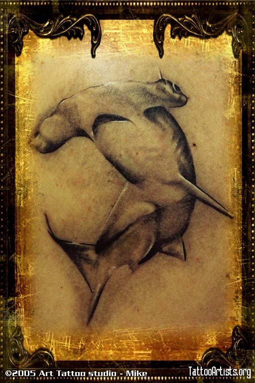 Chic Tattoo Of Hammerhead Shark