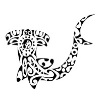 Maori Hammerhead Shark With Superb Tribal Tattoo Design