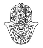 Hamsa Hand Outline Sketch Design