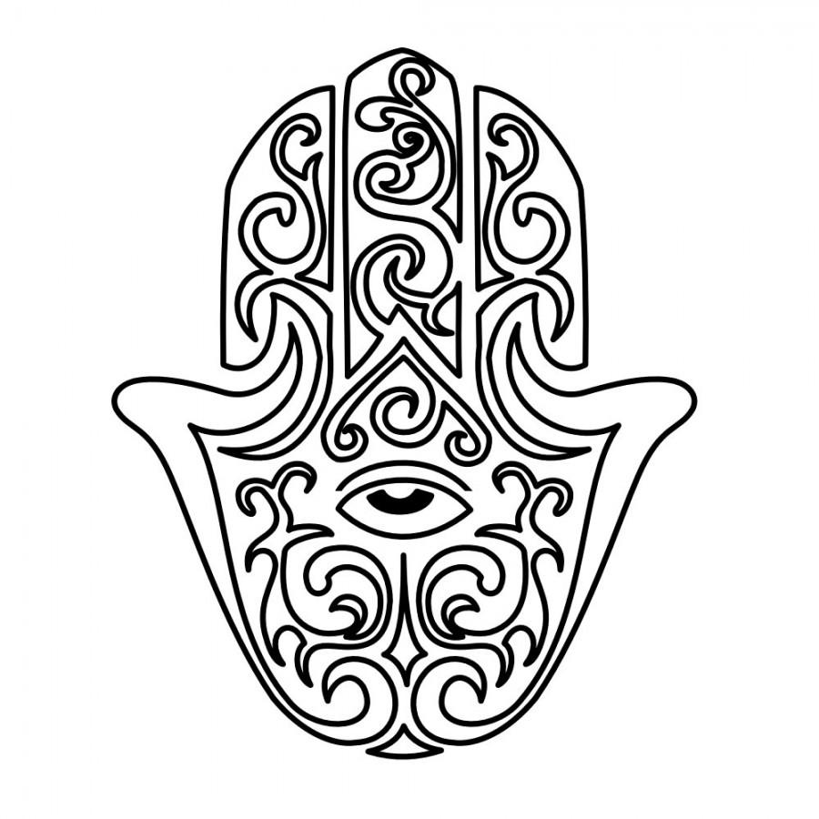 Hamsa Hand Outline Sketch Design