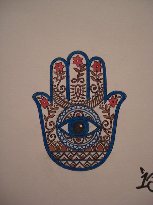 Religious Hamsa Hand of God Tattoo Design Idea
