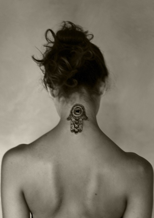 Beautiful Hamsa Neck Tattoo