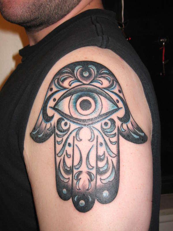 Left Halfsleeve Hamsa Hand Tattoo
