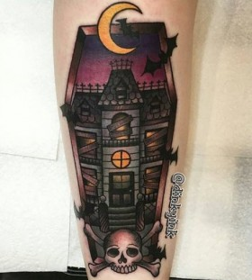 haunted-house-halloween-tattoo