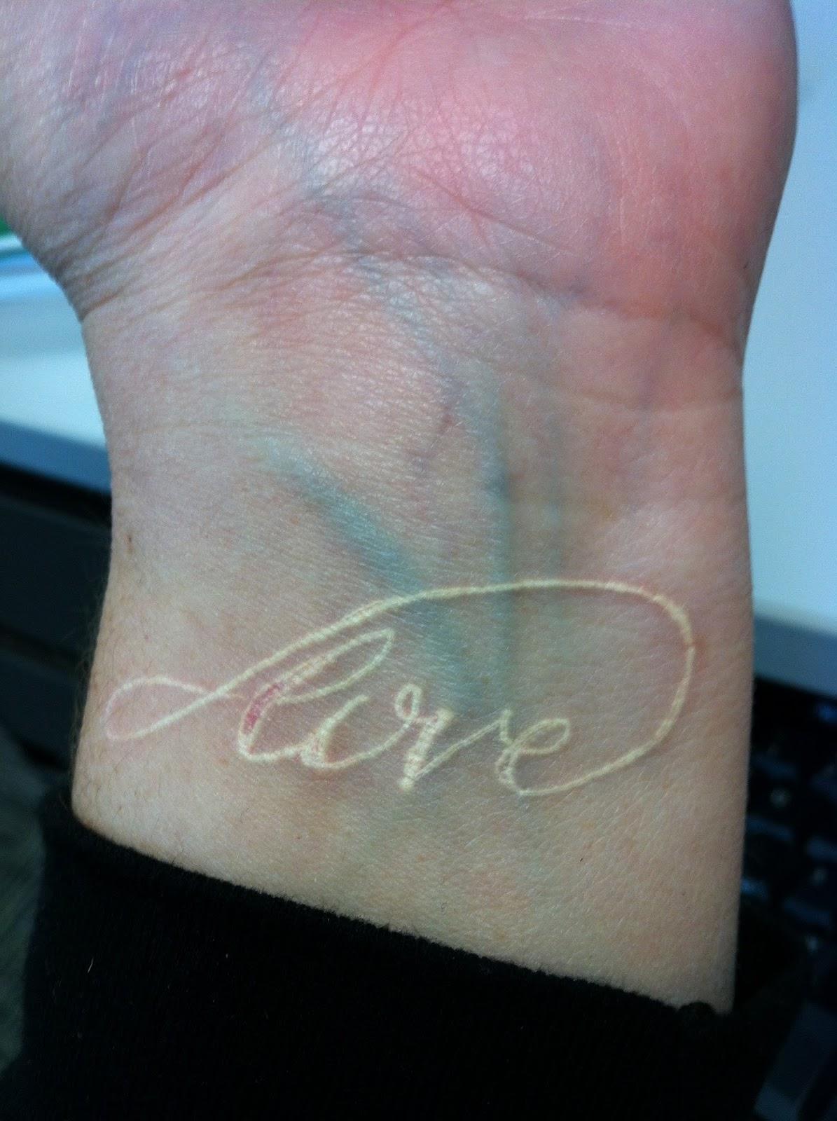 Healed White Ink Cross Tattoo Love Word White Ink Tattoo