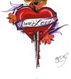 Graceful True Heart Dagger Tattoo Image